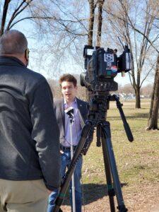 Jordan speaking with Channel 8