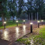 WI Vietnam War Memorial progress through September 27, 2021 after dark